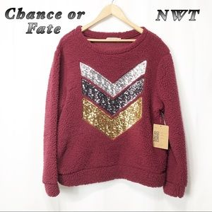 NWT-Chance or Fate- Wine Red Teddy Bear Fleece XL